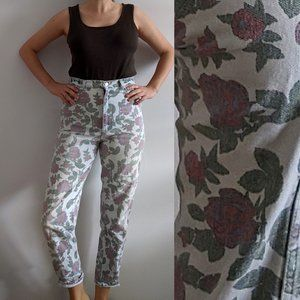 1990's Rose Floral Pattern High-Rise Jeans